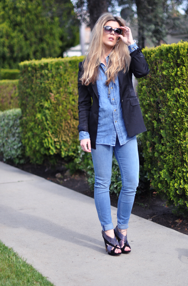 light denim on denim look with a black blazer, chloe sunglasses and nicholas kirkwood heels