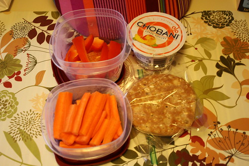 carrots, red peppers, peach chobani, pb&j