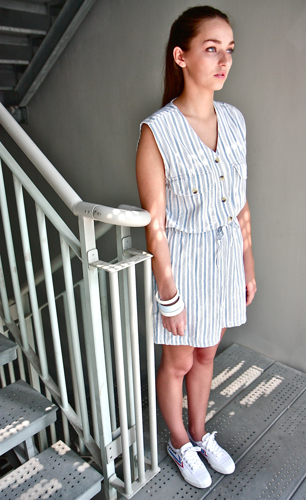 1980s light blue sleeveless striped romper; Feiyue Lo White/Blue/Red Canvas sneakers