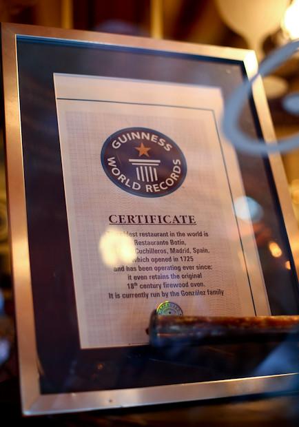Guinness World Record, Botin Oldest Restaurant in the World