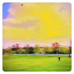 Boy and Kite (Jose Chavarry) Tags: park family kite dream relationships iphone iphoneography