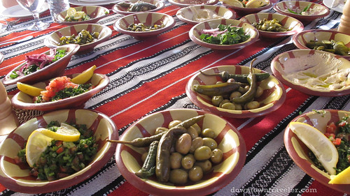 Jordanian mezze at a Bedouin camp