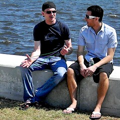 Guys on Seawall (LarryJay99 ) Tags: bench couple lagoon lakeworth sunglasses wall flipflops smile shades seated seat sunny outside glbt pridefest2011 legs friends jeans bluejeans gay hairylegs malefeet toes hands hairyarms hairy hair shorts sandals hispanic stud hunk studs hunks man men male boy guy dude dudes slippers flipflop flip flop flops guys ilobsterit virile manly masculine