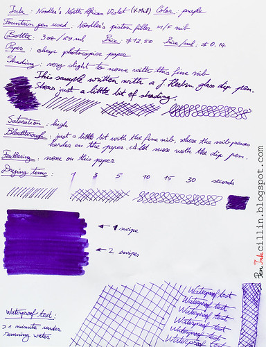 Noodlers North African Violet on photocopier paper