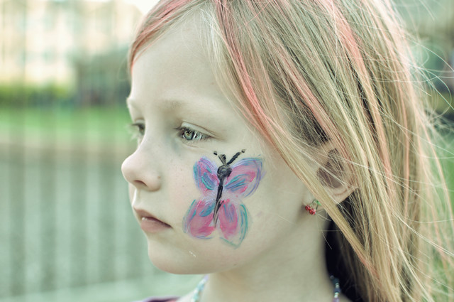 butterfly on face