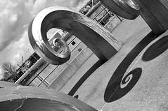 (TheRealMichaelMoore) Tags: seattle shadow blackandwhite sculpture metal washington waves fave ballard ballardlocks 2011 d90
