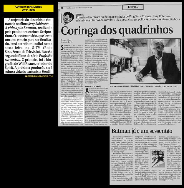 """""""Coringa dos quadrinhos"""" - Correio Brasiliense - 29/11/2000"""