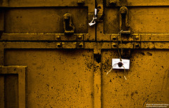 Waiting for You in This Monochromatic World (Colourless Rainbow) Tags: world door red white abstract color colour love monochrome yellow train nikon waiting you lock tag monochromatic cargo tagged single wait chromatic tangail irteza