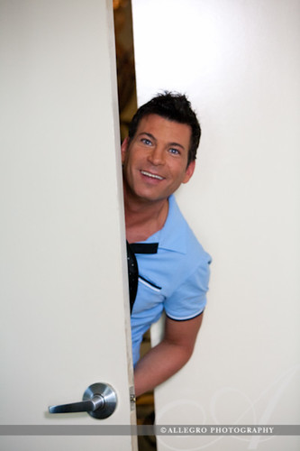 david-tutera-my-fair-wedding-behind-the-scenes- popping in to check on the bride during her getting ready and to bring her wedding gown- a david tutera by faviana bridal collection convertible dress