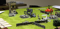 Dark Elf Hydras double team a Chaos Dwarf unit