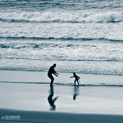 Father & Son (Ed Kruger) Tags: ocean family winter sea summer bw white black beach water weather surf waves child father wave son surfing lesson fatherandson tauranga mountmaunganui edkruger myopinionphoto