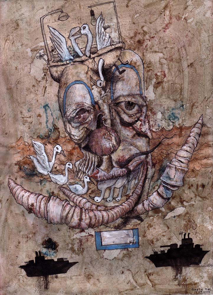 Полусгнивший клоун моряк с зубами уточками и губами дождевыми червями_m