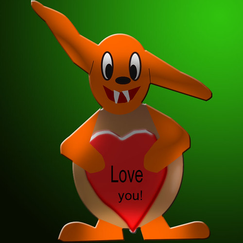 Bunny with heart - vector done with Inkscape
