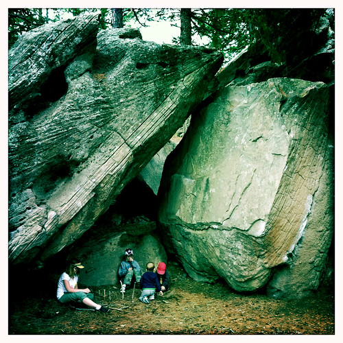 under the boulders
