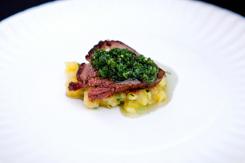 High Plains Bison Prime Rib, Ramp Chimichurri, Smoked Salt at Marc Forgione