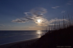 NagsHead NC Ocean Moon Light (Jerry T Patterson) Tags: ocean park vacation cloud moon reflection beach water night clouds nc dunes dune parks wave nagshead patterson