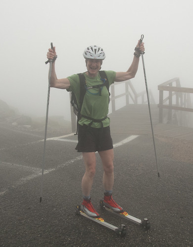Sue Wemyss, first person to ever roller ski to the summit. 2 hours, 15 seconds.