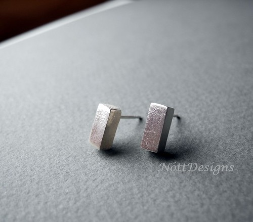 Modern Brushed Rectangular Blocks Earring Studs