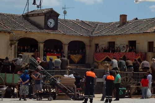Rodaje Blancanieves en la Plaza Mayor de Pedraza
