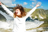 the frozen eye (.:: Maya ::.) Tags: mountain lake nature girl smile trekking hair happy frozen outdoor lakes happiness bulgaria rila seven природа планина okoto ezero българия езера рила езеро седемте окото mayaeye mayakarkalicheva маякъркаличева замразено wwwmayaeyecom