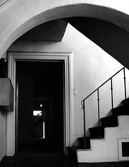 Fading With The Light (snapscot) Tags: blackandwhite bw stairs hall doors halls angles doorway silence portal past residue remnants portals doorways shadowandlight