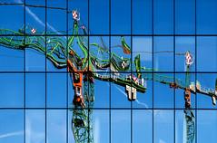 They make it (GER.LA - PHOTO WORKS) Tags: reflection spiegelung blue blau baukran constructionarea window
