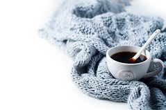 Cup of coffee and warm scarf (lyule4ik) Tags: cold warm woolen view coffee breakfast top cozy winter home vintage background indoors scarf white wool cup woven fall closeup photo cafe table autumn sweater negative cashmere design woman image hot soft drink mug knit lifestyle retro mood wooden space rustic beautiful beauty bedroom christmas comfort cute european female frame
