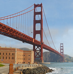 monumental panorama (pbo31) Tags: sanfrancisco california city morning bridge blue sky urban panorama orange color photoshop bay big nikon view over large panoramic 101 bayarea fortpoint d200 stitched presidio monumental thegoldengatebridge