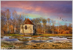 Isolated (Jean-Michel Priaux) Tags: trees france art church nature wet water architecture forest photoshop painting landscape sand alone pastel alsace single swamp marsh paysage glise chapelle hdr fort seul savage fret mattepainting ried chapell matzenheim marcage priaux mygearandme heussern
