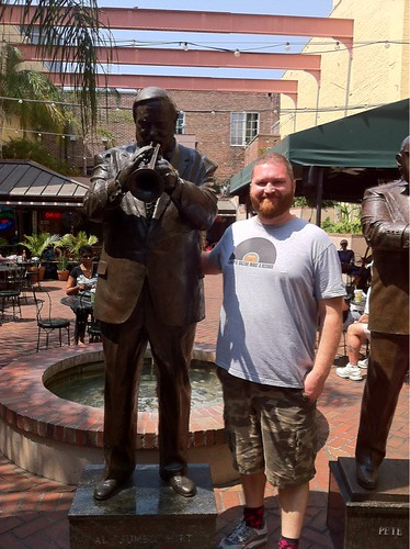 At the Al Hirt statue on Bourbon St.  I'm such a big fan of Al Hirt, so this was pretty cool to see.