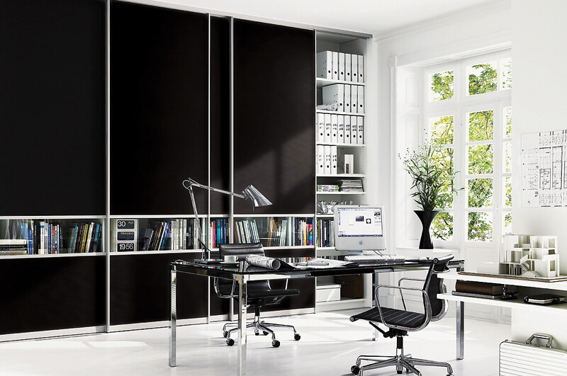 Sliderobes fitted wardrobe black glass home office