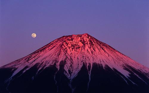 フリー写真素材, 自然・風景, 山, 月, 富士山, 日本,