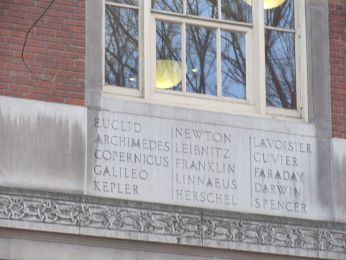 Names of scientists, including Darwin, on the outside of Central Library, Portland, OR
