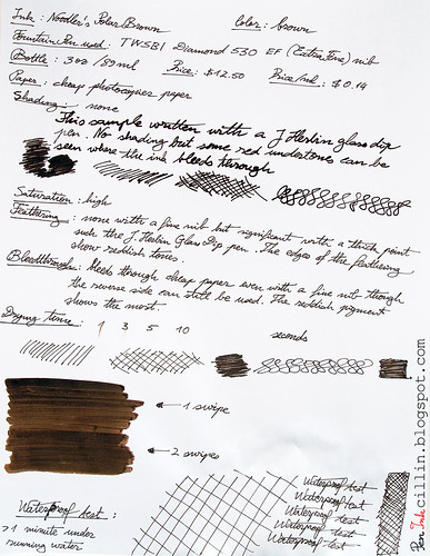 Noodler's Polar Brown ink review on photocopier paper