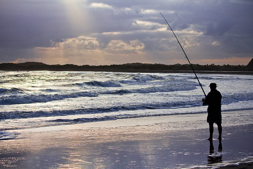 Whatipu Beach - Fisherman