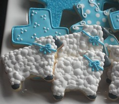 close-up of sheep cookies (Songbird Sweets) Tags: sheep baptism sugarcookies