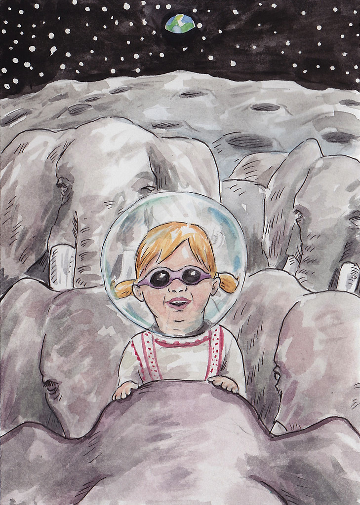 Nora Riding Elephants On The Moon