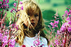 (jessica heaps) Tags: summer sun girl scarf hair photography movement model infant long pretty child purple wind little jessica heather sunny blow pale louise blonde jess moors moor heaps moorland haworth keighley penistone