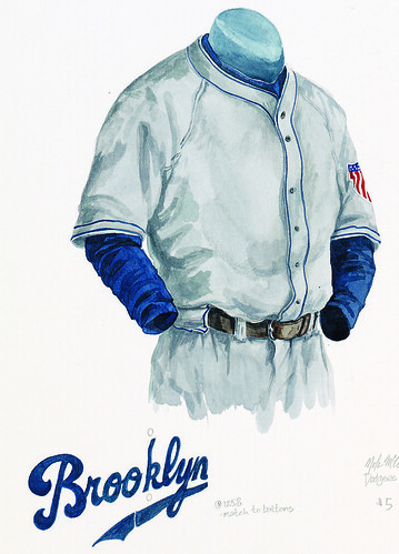 los angeles dodgers uniform. Brooklyn Dodgers 1945 uniform