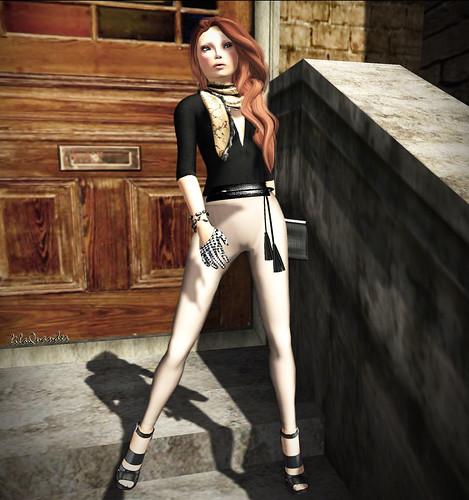 Fleshtone Harem Pants - Beige & Black top