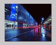 Attack of the Vans (RZ68) Tags: street light 120 film wet colors night reflections lights airport san long exposure traffic jose trails international velvia sjc streams 6x7 van streaks provia rz67 e100 rz68