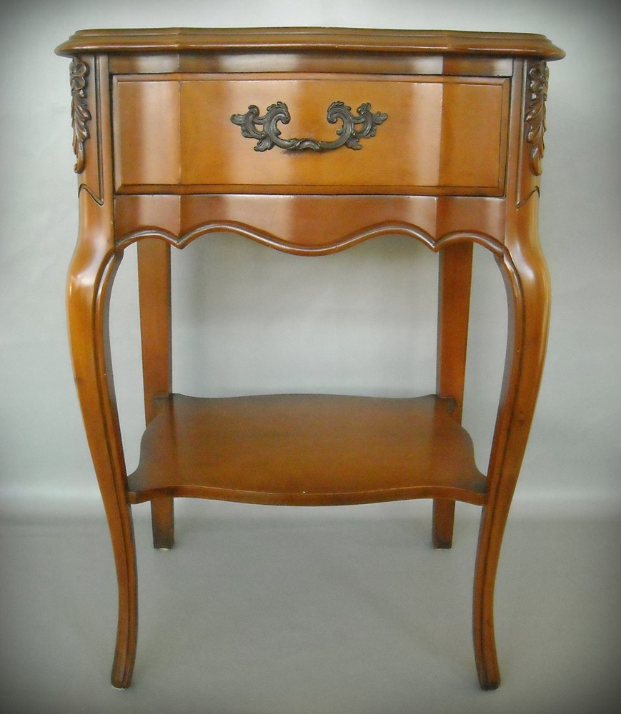 Pair French Hollywood Regency Nightstand End Table Cherry Solid Wood Carved Paris Apartment 1940s