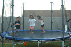 Kids playing on new trampoline