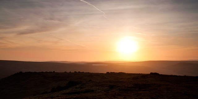 Looking over towards Rebrook and Swellands Reservoirs near Marsden as the sun went down. Ravens Edge is just on the left. A cracking evening...