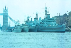 Pool of London 1982 (beareye2010) Tags: uk london thames river 1982 hmsbelfast 1980s marburg mosel hms m810 warships abcoude a67 omman poollondon m813 m1081