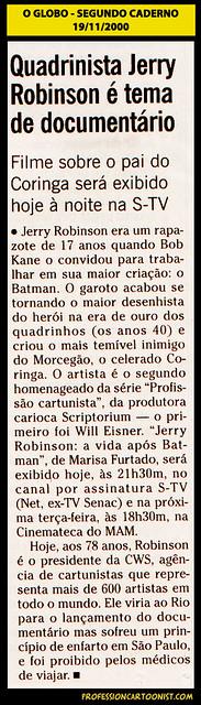 """""""Quadrinista Jerry Robinson é tema de documentário"""" - O Globo - 19/11/2000"""