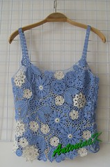 Denim_top (antonina.kuznetsova) Tags: blue flower motif lace top crochet ukraine clothes cotton denim freeform irishcrochet kherson crochetlace lacefreeform antoninakuznetsova