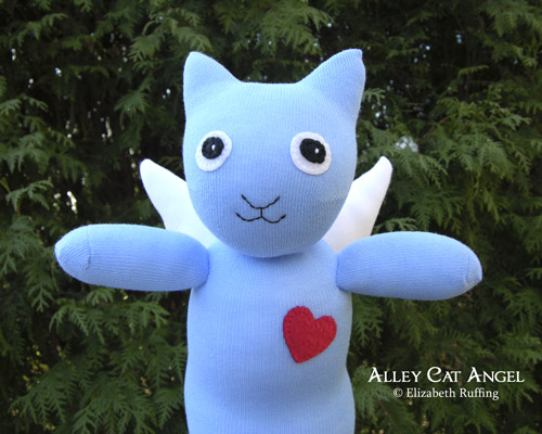 Alley Cat Angel Hug Me Sock Kitten by Elizabeth Ruffing, blue with red heart