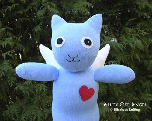 Alley Cat Angel Hug Me Sock Kitten by Elizabeth Ruffing, blue with red heart