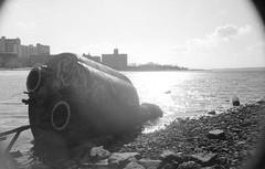 Tank (Alexander Rabb) Tags: nyc newyorkcity ny newyork abandoned film brooklyn coneyisland blackwhite rust waterfront kodak fed2 fed kodaktrix400 boatgraveyard mmz coneyislandcreek industar69 calvertvauxpark фэд фэд2 индустар69 ммз